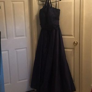 Two piece navy blue dress pockets on the skirt